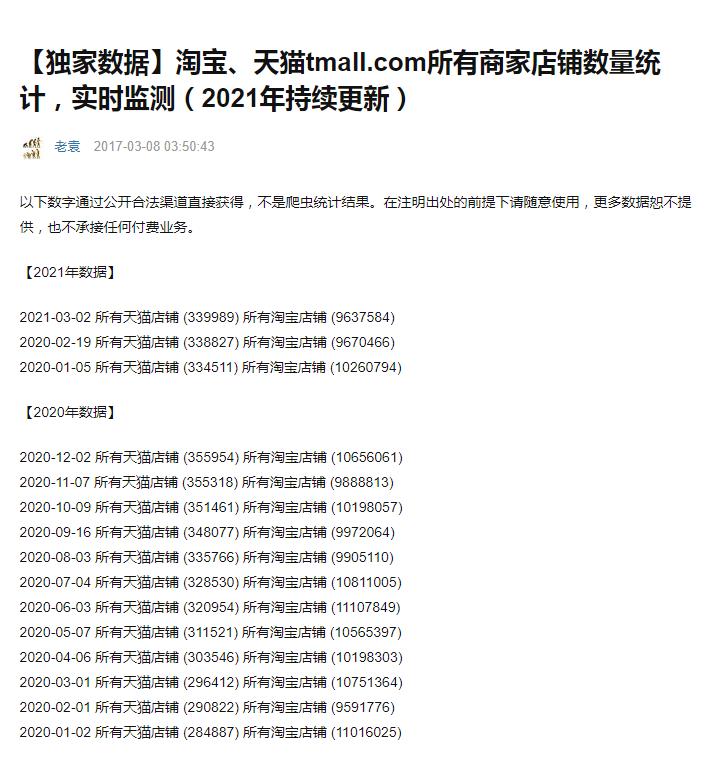 淘宝,天猫 tmall.com 所有商家店铺数量统计,实时监测(2021 年持续更新)